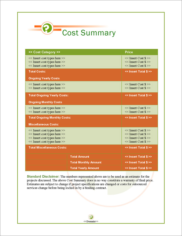 Proposal Pack Symbols #3 Cost Summary Page