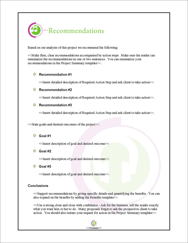 Proposal Pack Entertainment #4 Recommendations Page