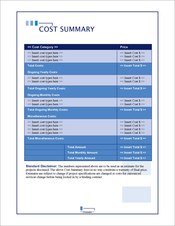 Proposal Pack Classic #10 Cost Summary Page