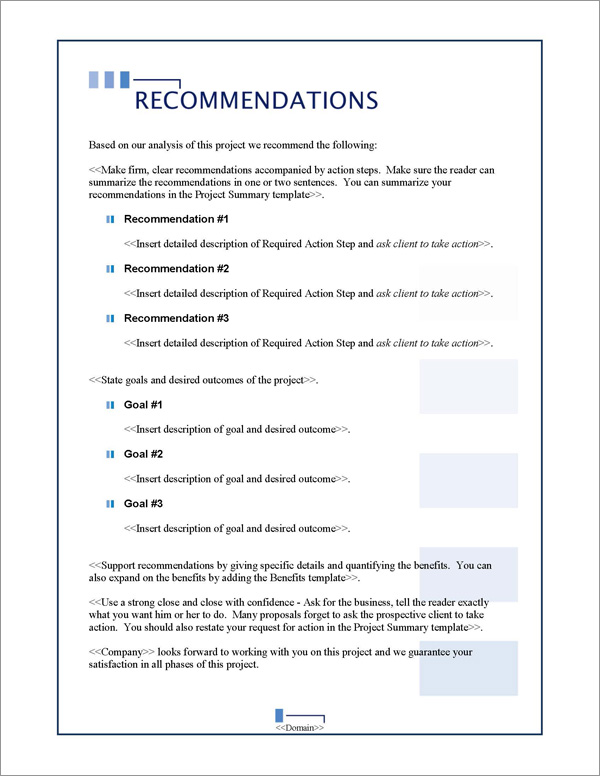 Proposal Pack Classic #10 Recommendations Page