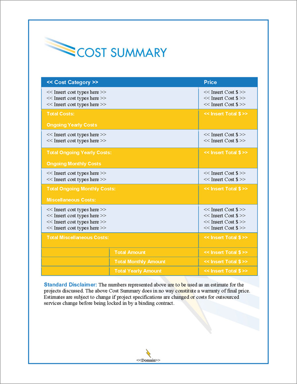 Proposal Pack Contemporary #8 Cost Summary Page
