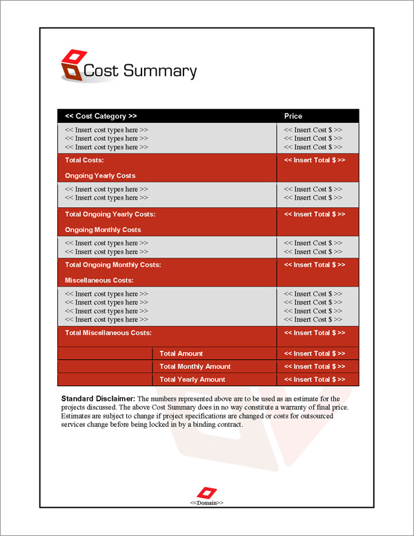 Proposal Pack Contemporary #9 Cost Summary Page