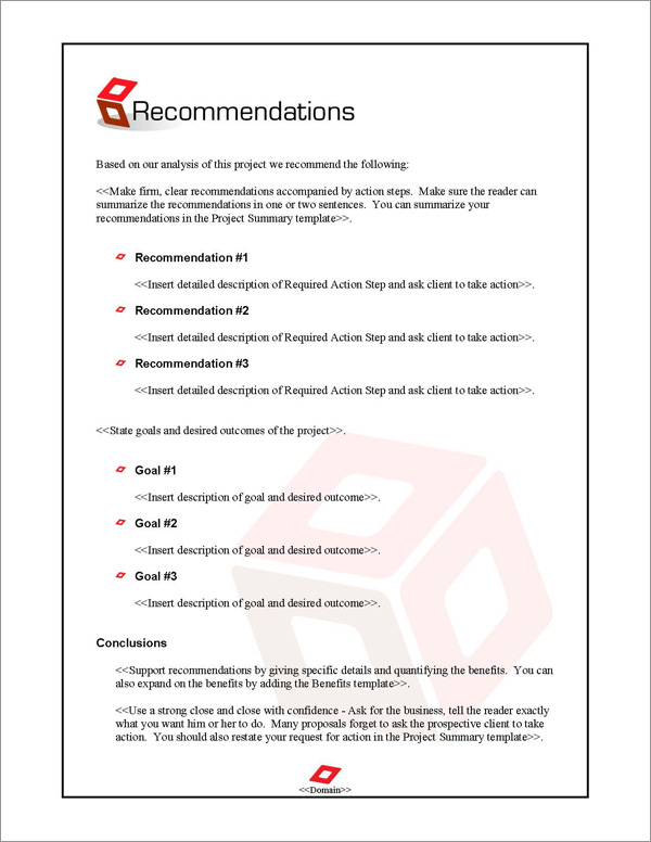 Proposal Pack Contemporary #9 Recommendations Page