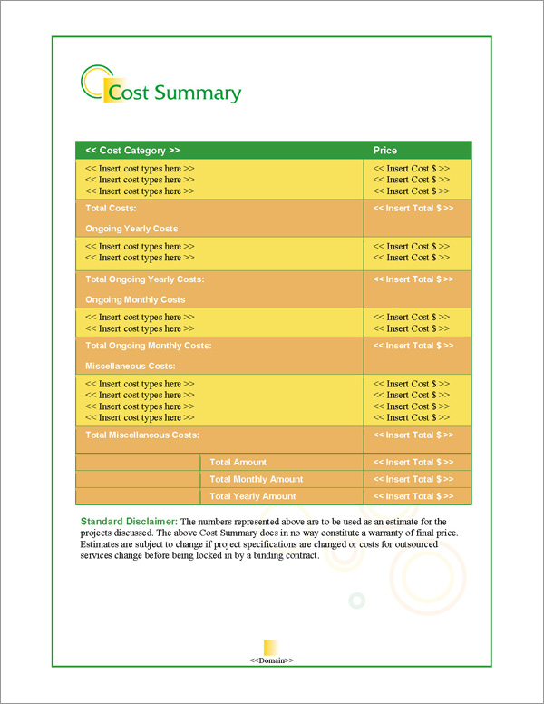 Proposal Pack Business #14 Cost Summary Page