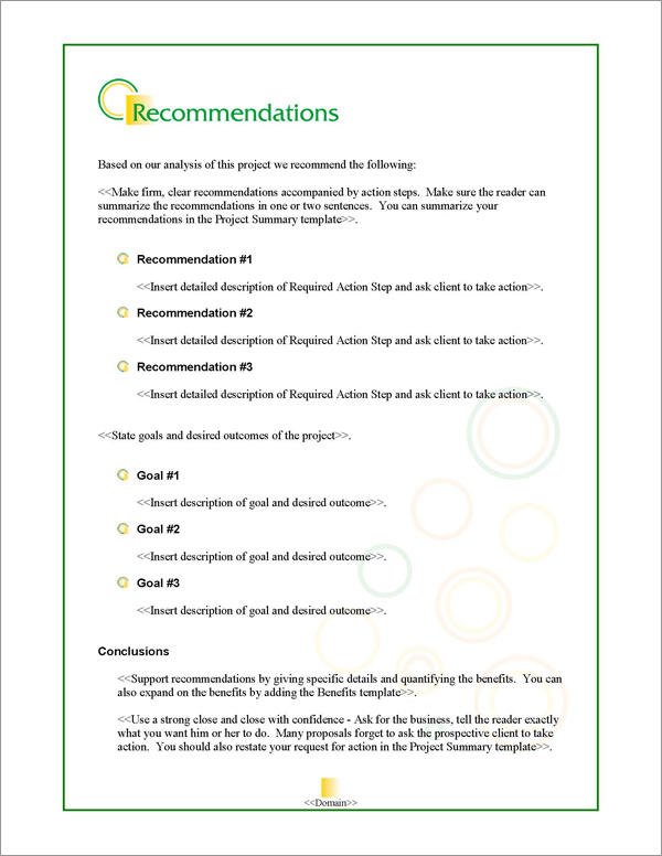 Proposal Pack Business #14 Recommendations Page