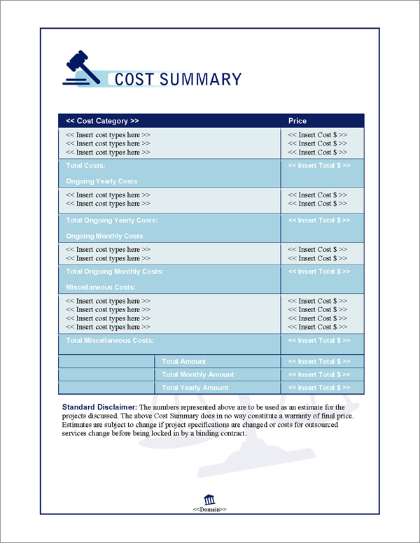 Proposal Pack Justice #1 Cost Summary Page
