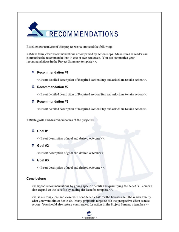 Proposal Pack Justice #1 Recommendations Page