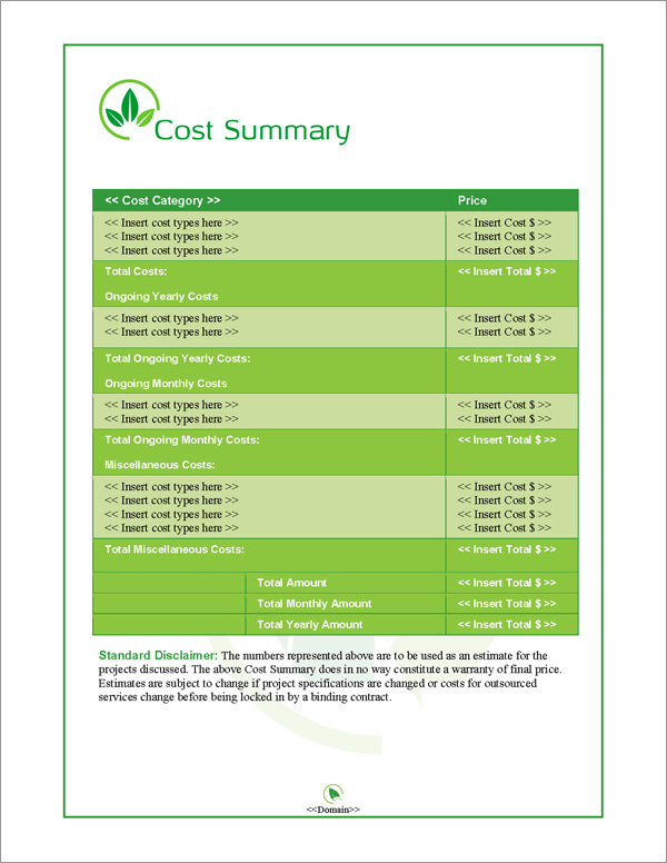 Proposal Pack Environmental #2 Cost Summary Page