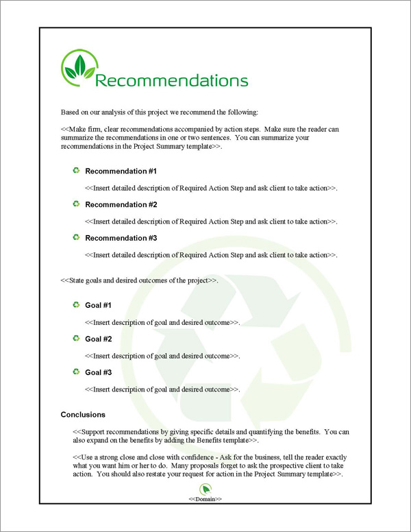 Proposal Pack Environmental #2 Recommendations Page