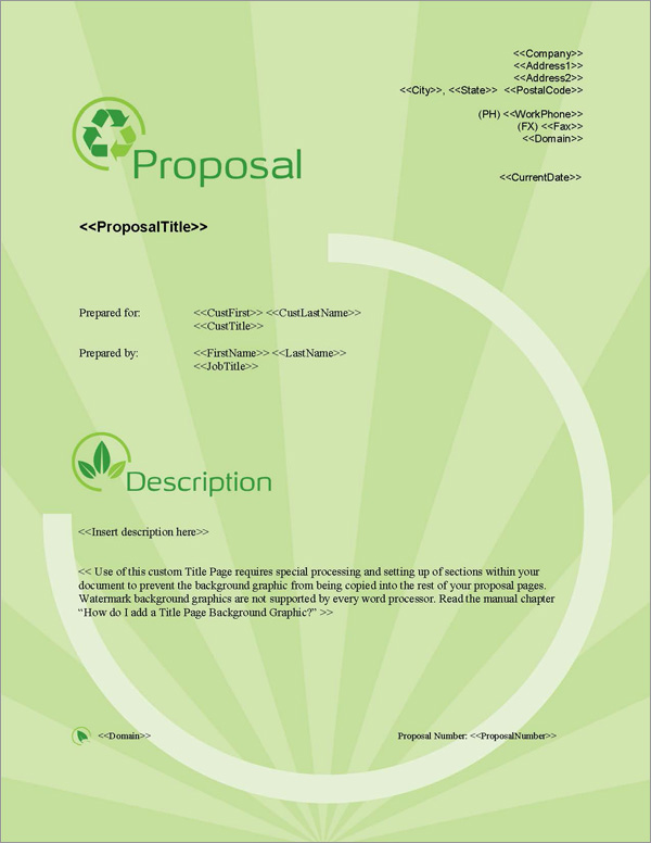 Proposal Pack Environmental #2 Title Page