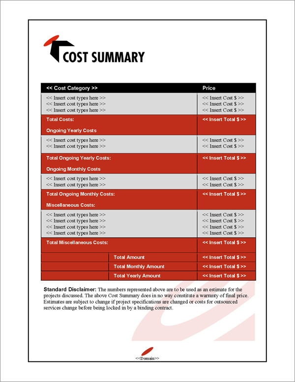 Proposal Pack Bullseye #1 Cost Summary Page
