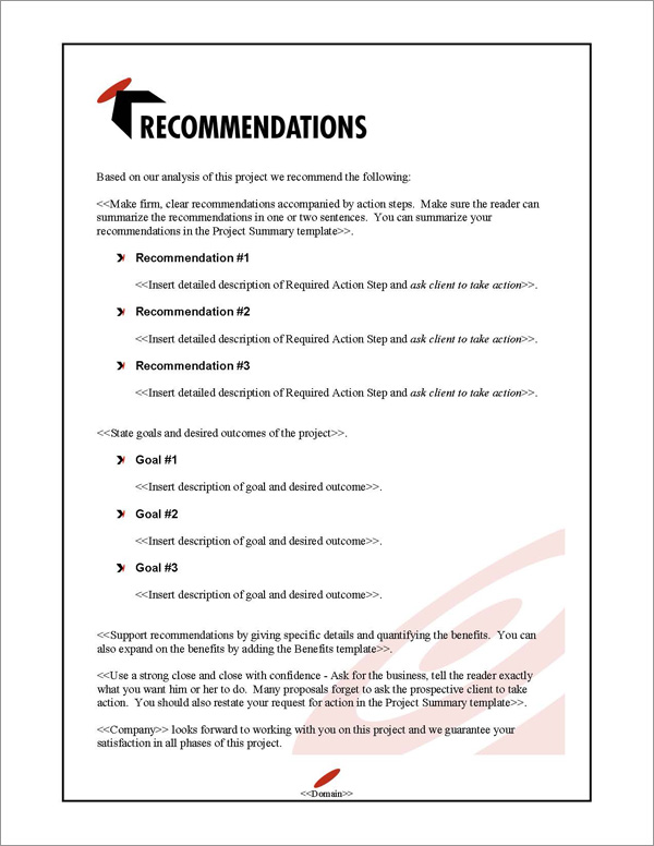 Proposal Pack Bullseye #1 Recommendations Page