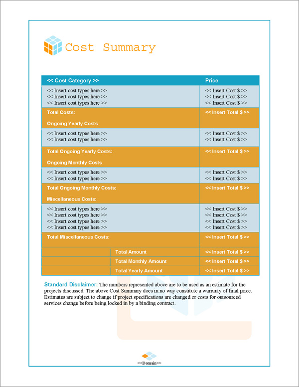 Proposal Pack Contemporary #10 Cost Summary Page