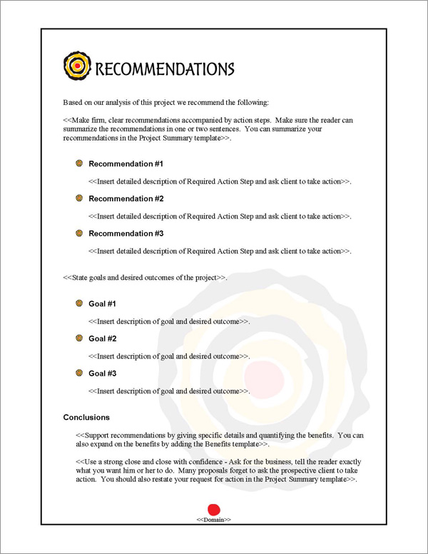 Proposal Pack Bullseye #2 Recommendations Page
