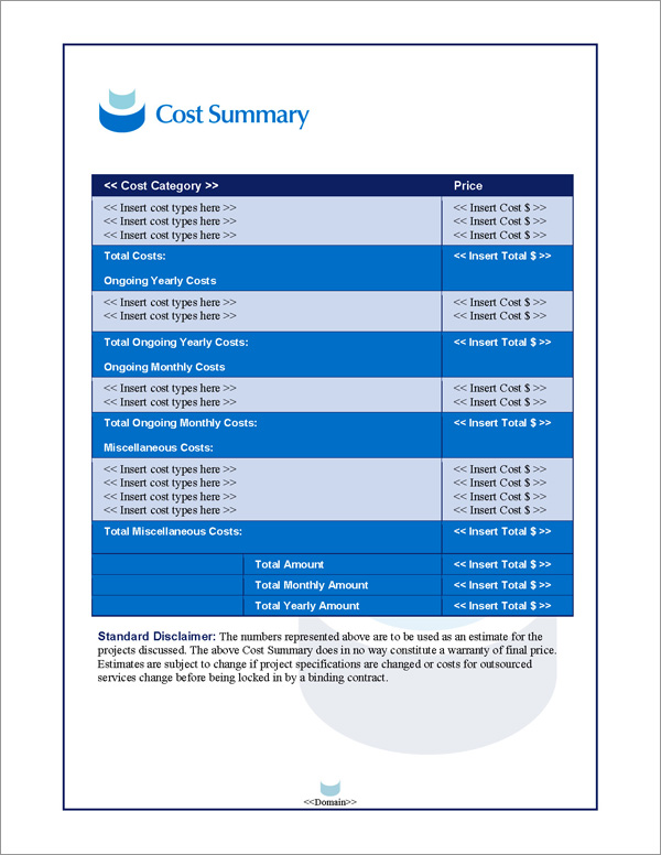 Proposal Pack Contemporary #11 Cost Summary Page