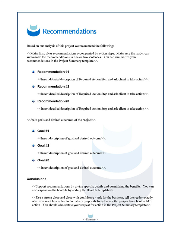 Proposal Pack Contemporary #11 Recommendations Page
