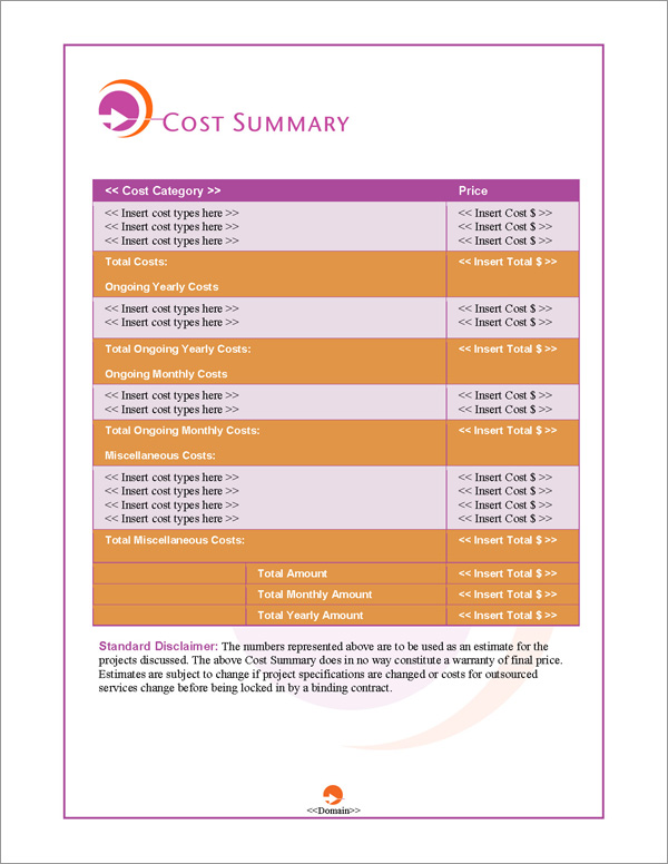 Proposal Pack Symbols #4 Cost Summary Page