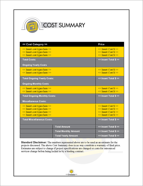 Proposal Pack Entertainment #5 Cost Summary Page