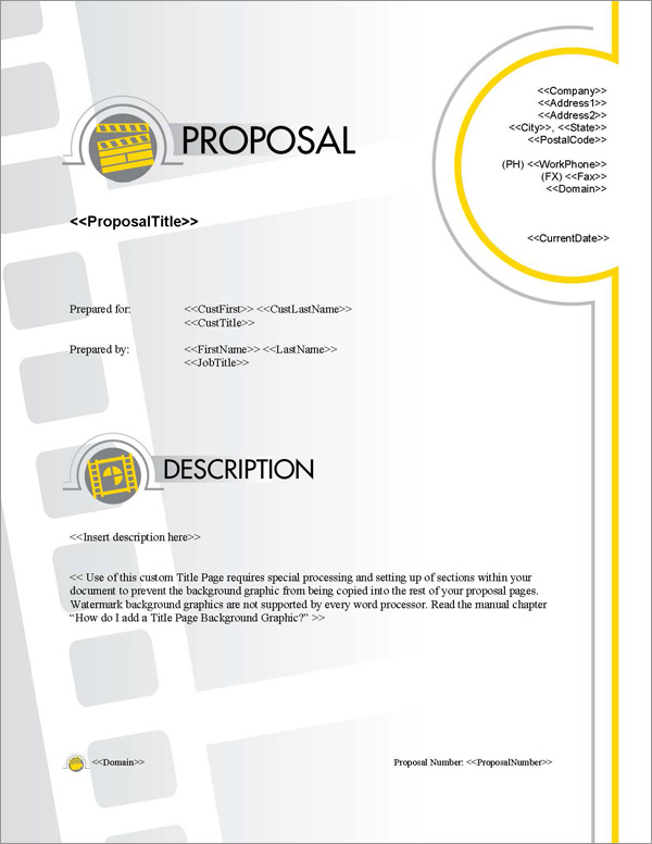 Proposal Pack Entertainment #5 Title Page