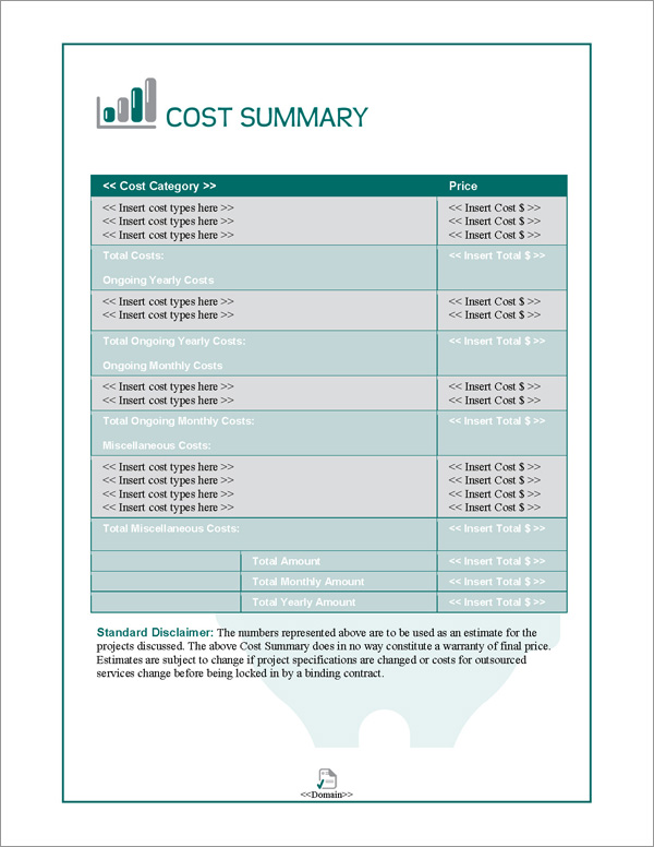 Proposal Pack Financial #3 Cost Summary Page