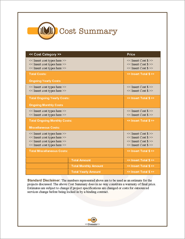 Proposal Pack Books #1 Cost Summary Page