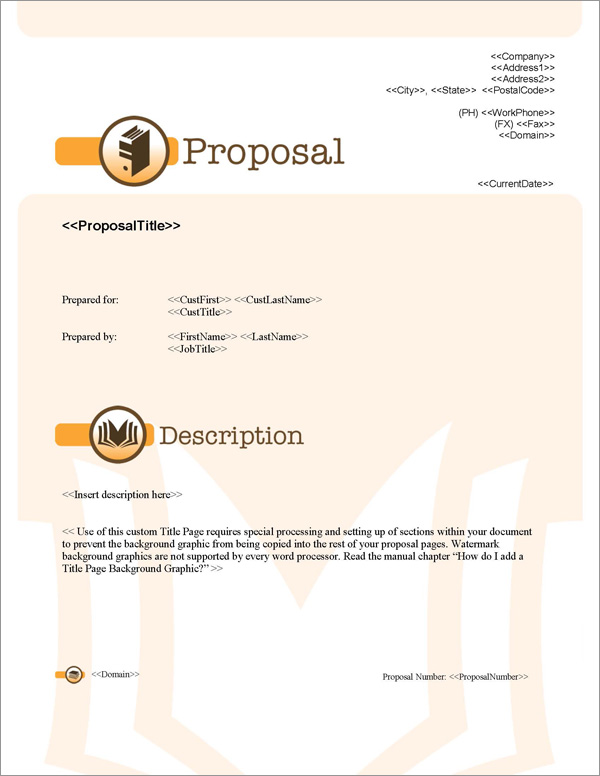 Proposal Pack Books #1 Title Page