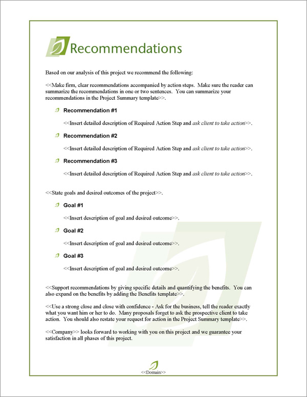 Proposal Pack Nature #5 Recommendations Page