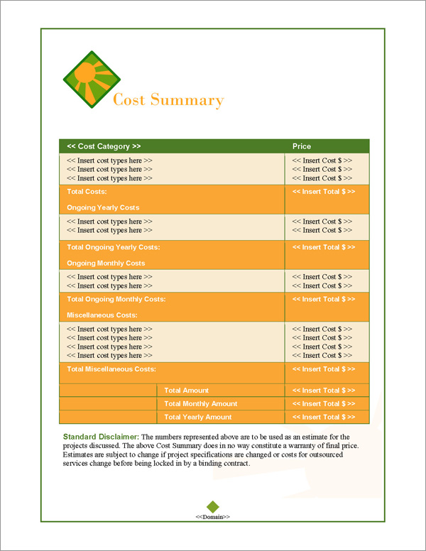Proposal Pack Energy #1 Cost Summary Page