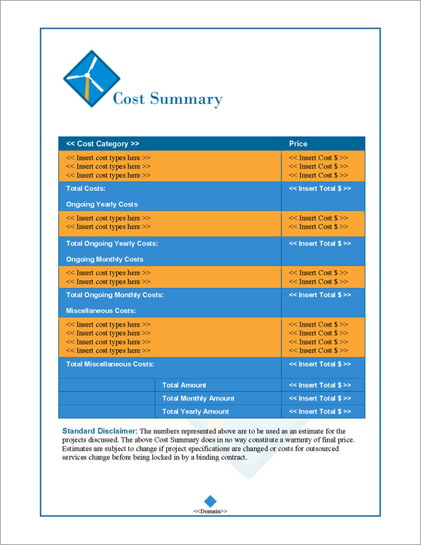 Proposal Pack Energy #2 Cost Summary Page