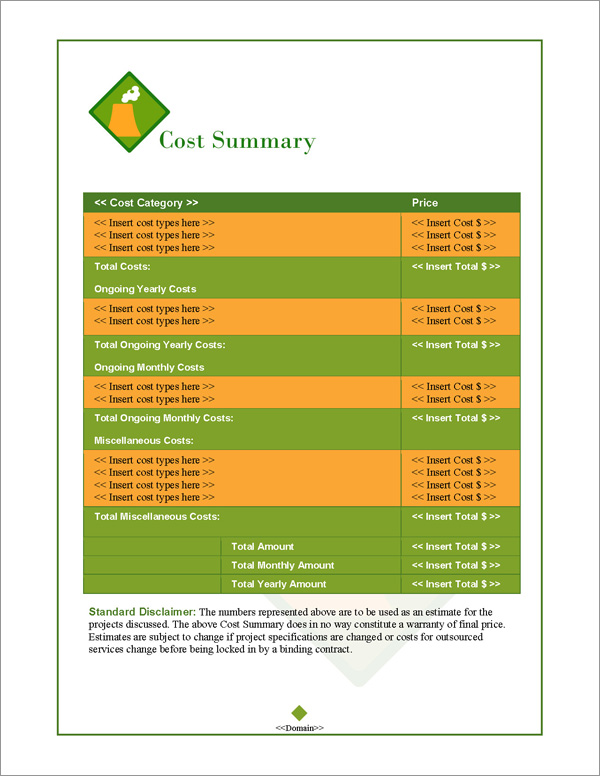 Proposal Pack Energy #3 Cost Summary Page