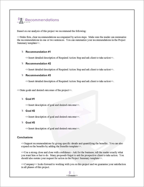 Proposal Pack Wireless #1 Recommendations Page