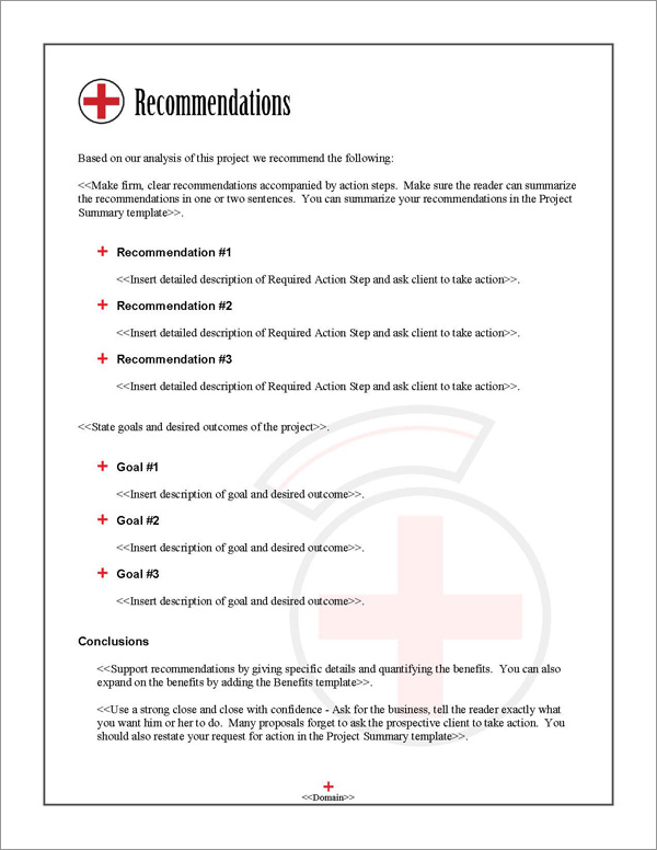 Proposal Pack Healthcare #2 Recommendations Page