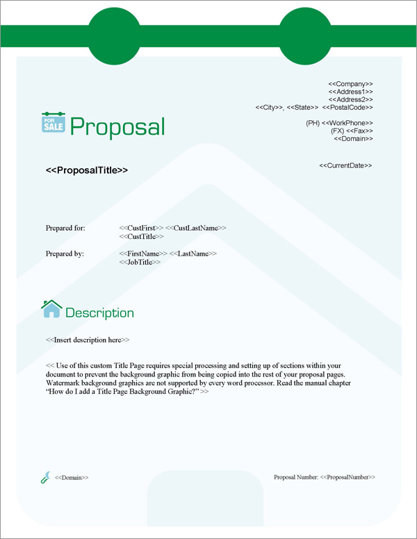 Proposal Pack Real Estate #3 Title Page