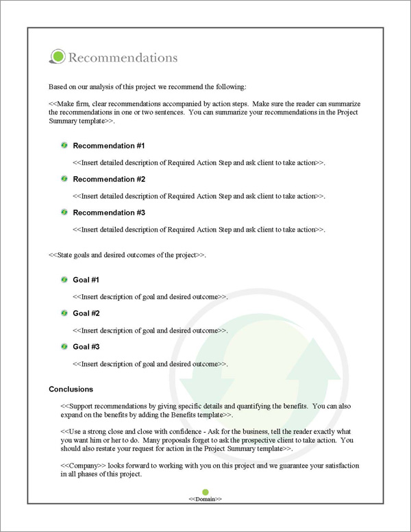 Proposal Pack Environmental #3 Recommendations Page