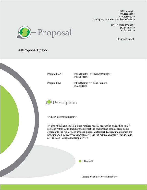 Proposal Pack Environmental #3 Title Page