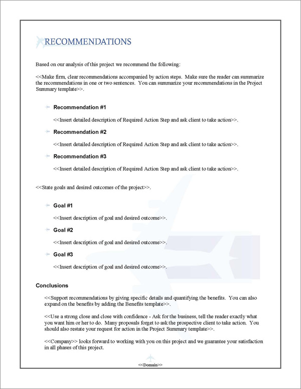 Proposal Pack Aerospace #1 Recommendations Page