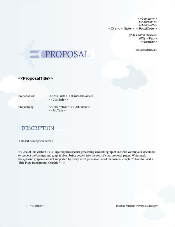 Proposal Pack Aerospace #1 Title Page