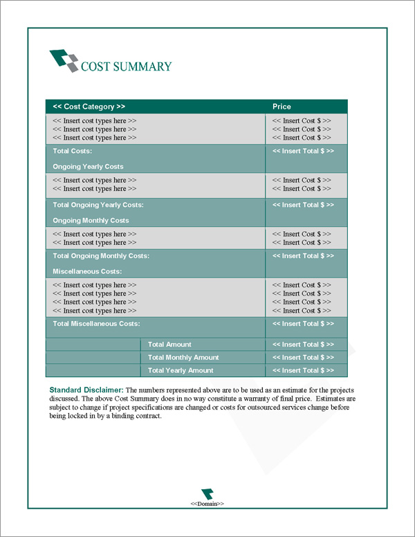 Proposal Pack Business #16 Cost Summary Page