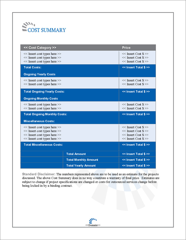 Proposal Pack Contemporary #13 Cost Summary Page