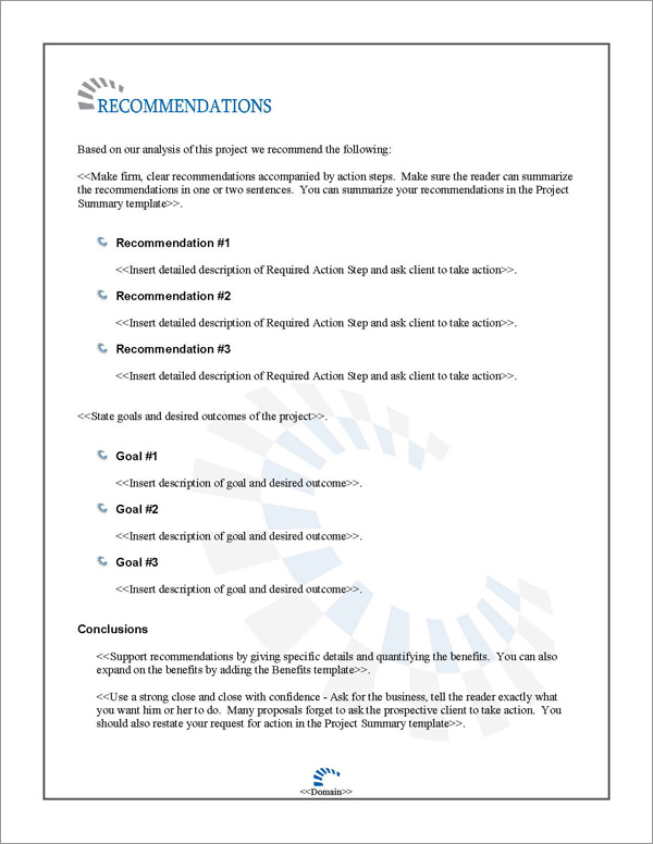 Proposal Pack Contemporary #13 Recommendations Page