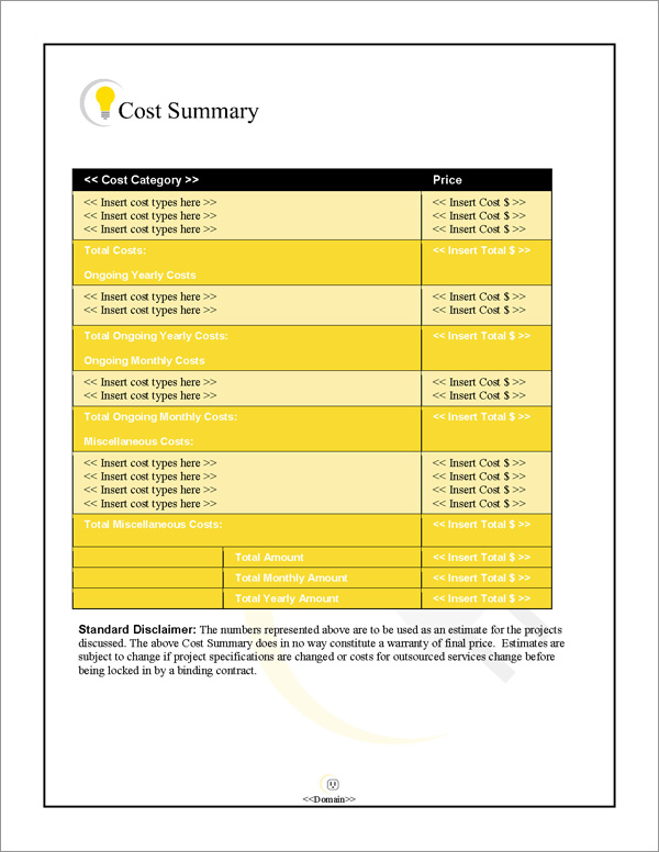 Proposal Pack Electrical #1 Cost Summary Page
