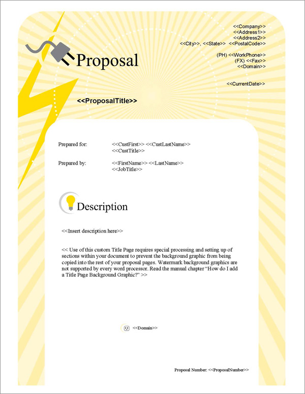Proposal Pack Electrical #1 Title Page