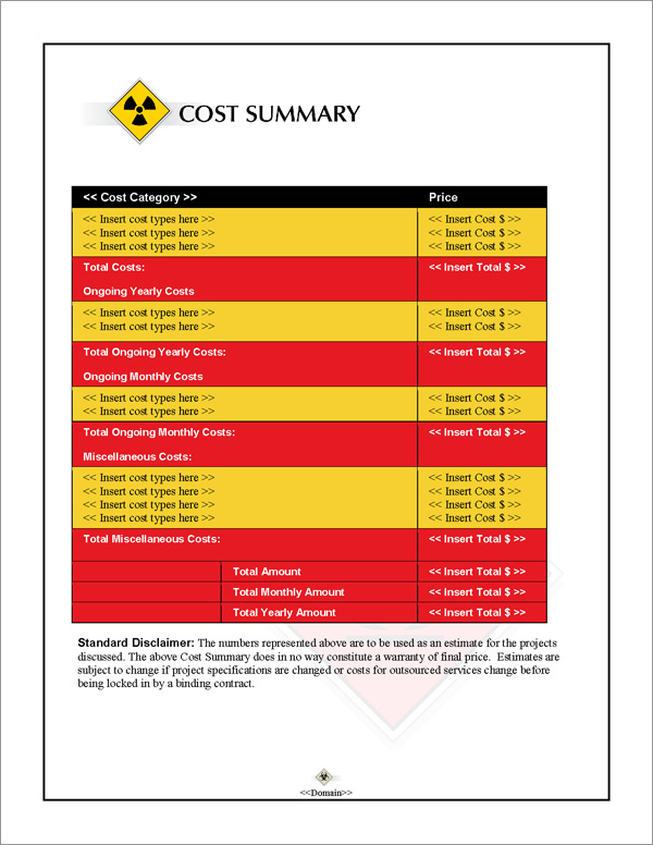 Proposal Pack Transportation #2 Cost Summary Page
