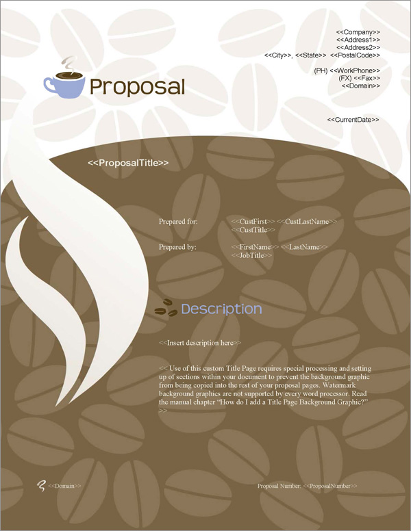 Proposal Pack Food #3 Title Page