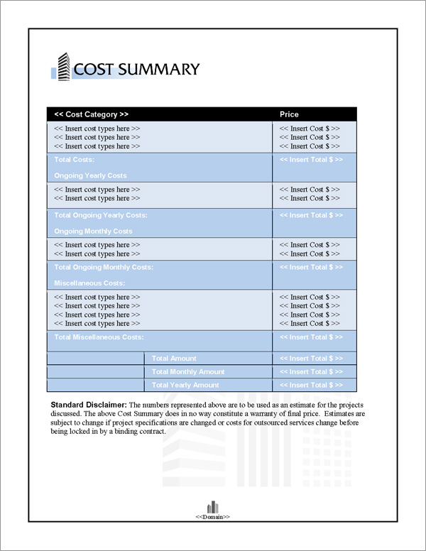 Proposal Pack Skyline #2 Cost Summary Page