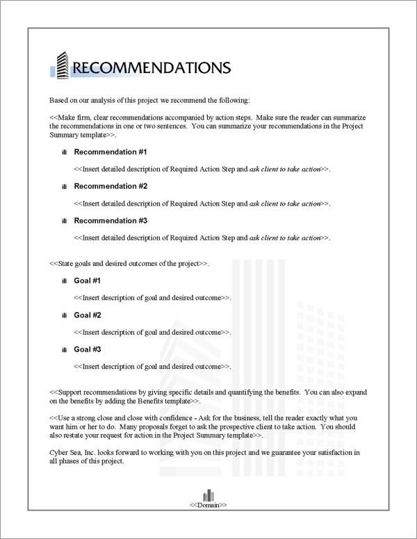 Proposal Pack Skyline #2 Recommendations Page