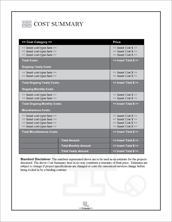 Proposal Pack Computers #4 Cost Summary Page