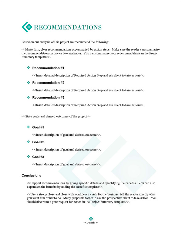 Proposal Pack Business #17 Recommendations Page