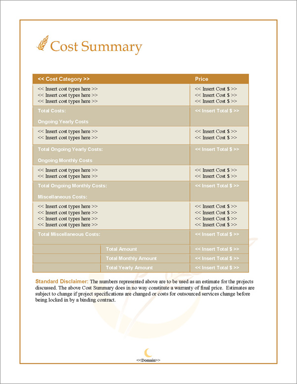 Proposal Pack Agriculture #2 Cost Summary Page