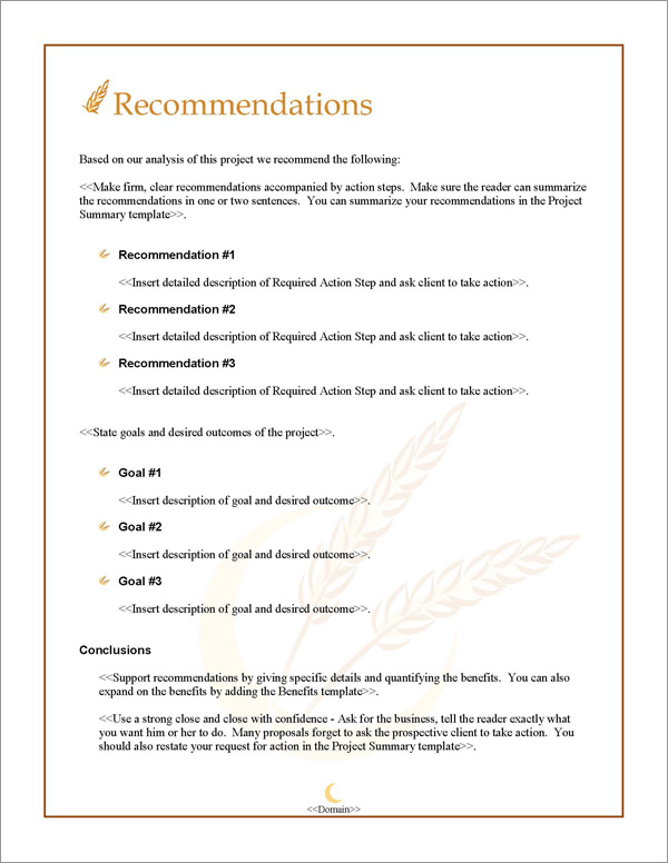 Proposal Pack Agriculture #2 Recommendations Page